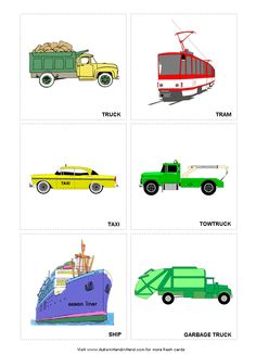 various type of transport English For Beginners, English Lessons For Kids, Kids English, English Study, Learn English, Transportation Preschool Activities, Transportation Unit, Preschool Education, Teaching Autistic Children