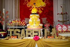 Stunning dessert table at a Beauty and the Beast birthday party! See more party ideas at CatchMyParty.com!