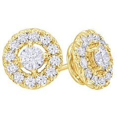 1 Ct White Natural Diamond Frame Stud Earrings In 10K Yellow Gold by JewelryHub on Opensky
