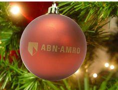 Kerstbal, rood, met logo ABN AMRO in 1 kleur