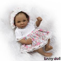 "Black Skin Tone and Shirt Overalls Clothes Reborn 20/"" Vinyl Baby Girl Doll"