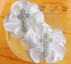 White satin cross baptism pig tails  toddler by Fitzthumboutique, $8.75