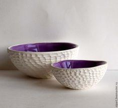 """Handmade crockery set / Комплект вазочек """"Сиреневые моллюски"""" - сиреневый, керамика ручной работы, керамическая посуда, моллюск"""