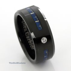 $35 Black Tungsten Carbide with Blue Fiber Inlay and CZ Diamond 8MM Thin Red Blue Line Thin Blue Line Collection