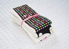 Cloth Diaper Burp Cloths Set of 3 Dots of Color by mypoplin, $14.00