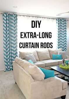 How To Make Extra Long DIY Curtain Rods With Electrical Conduit Saving this for the future! Love this idea! Easy DIY Curtain rod ideas using electrical conduit! I have never seen a clearer tutorial! Extra Long Curtain Rods, Extra Wide Curtains, Large Curtains, Window Curtain Rods, Diy Curtains, Curtains For Long Windows, Cheap Curtain Rods, Large Windows, Design Seeds