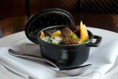 Poached Swan Creek Duck Egg using Staub at The Gage, Chicago
