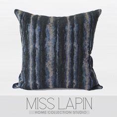 MISS LAPIN/简约现代/沙发/高档抱枕/蓝色雪尼尔三色提花条纹方枕-淘宝网