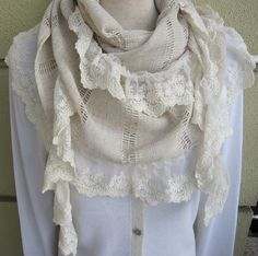 Oatmeal ivory linen with lace women's scarves  long by Scarves2012, $29.00