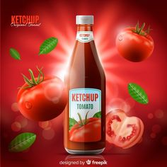 Ketchup ad template Free Vector | Free Vector #Freepik #freevector #poster Food Graphic Design, Food Design, Kebabs On The Grill, Cheese Fruit, Cooking Sauces, Bottle Packaging, Spring Rolls, Social Media Design, Bottle Design