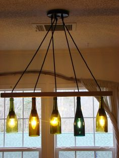 The Gran Marnier Recycled Liqueur Bottle Square Chandelier With Metal Canopy and Vintage Style Edison Bulbs - Modern Rustic Decor Hanging Chandelier, Modern Chandelier, Hanging Lights, Modern Farmhouse Lighting, Modern Rustic Decor, Solar Light Crafts, Solar Lights, Lighted Wine Bottles, Ideas