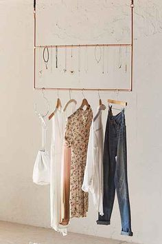 DIY, use for necklaces // Ceiling Clothing Rack - Urban Outfitters