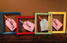 LOVE THE COLORS USED HERE Dolen Diaries: teacher appreciation week gifts: chicken wire frames