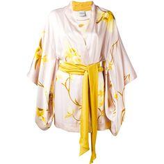 Carine Gilson - Orchidée print short kimono - women - Silk - L ($1,650) ❤ liked on Polyvore featuring intimates, robes, nude, short kimono robe, short kimono, carine gilson, patterned robes and short silk robe