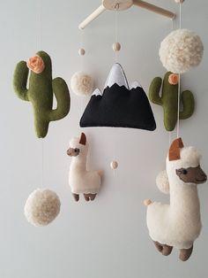 Llama Cactus Baby Mobile Felt Nursery Mobile Llama baby | Etsy