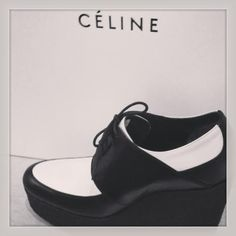 Celine High Wedge in Shiny Calfskin Black, purchase at theCIRCEeffect.com. Will ship worldwide.