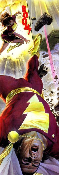 Captain Marvel vs Mary Marvel by Alex Ross and Doug Braithwaite
