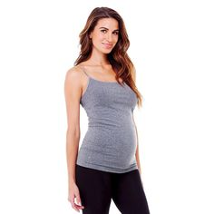 BeMaternity by Ingrid & Isabel Seamless Cami Dark Gray L/XL, Women's, Size: Medium/Large, Heather Gray