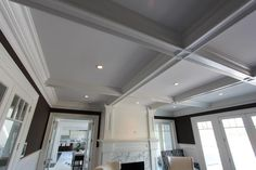 Living Room Coffered Box Beam Ceiling Non Contrast