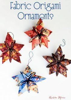 Origami Christmas Ornament, Origami Ornaments, Quilted Christmas Ornaments, Christmas Sewing, Christmas Projects, Glitter Ornaments, Diy Ornaments, Christmas Fabric, Felt Christmas