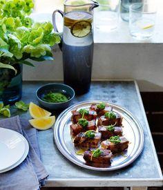 Pressed pork hock with parsley and young garlic sauce recipe | Pork recipe | Martin Boetz recipe - Gourmet Traveller
