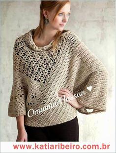 Blusa poncho em crochê com ´gráficos - Katia Ribeiro Crochê Moda e Decoração Handmade