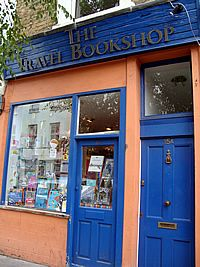 bookshop front door. notting hill--made famous by the film of the same name.