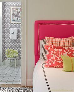 Katie Rosenfeld Design: Fun teen girl's bedroom with hot pink headboard with silver nailhead trim, zebra rug, . Home Bedroom, Bedroom Decor, Girls Bedroom, Bedroom Photos, Girl Rooms, Bedroom Ideas, Teen Bedrooms, Bedroom Prints, Bedroom Green