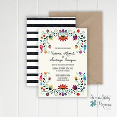 Colorful Mexican Inspired Wedding Invitation  Destination