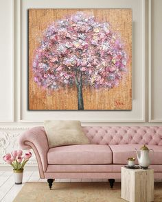 Original Rustic Abstract Pink Tree Wall Art / Mixed Media Painting on Canvas / Shabby Chic Large Wall Decor