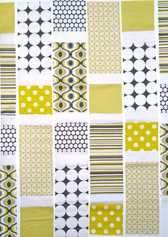 free.pattern for baby quilt using 5.5 squares and 12.5x 5.5 strips with plain sashing. for large prints/ scraps