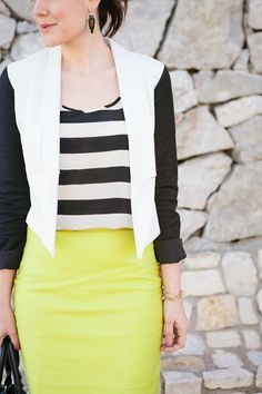 so excited i found a skirt thats yellow! i think im saving it for the warmer weather though, love the shirt, and the blazer i hate, but i have a black jacket that would go well.