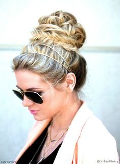 Gorgeous fishtail bun with headband hairstyle inspiration