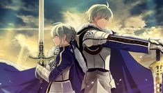 Saber (Arturia Pendragon) from Fate/Zero and King Arthur Pendragon (Saber) from Fate/Prototype. Wouldn't it be interesting to see more of Fate/Prototype? All Anime, Manga Anime, Saber Fate Stay Night, Arturia Pendragon, Fate Anime Series, Fate Zero, Fan Art, Type Moon, King Arthur