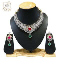 Beautiful American Diamond set with Red and Green Stones