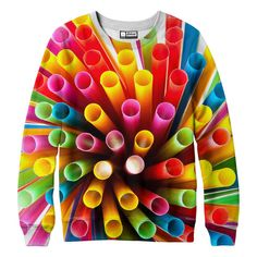 "belovedwear® presents the #Straws Sweatshirt This ""all over"" print crewneck sweatshirt is made using a special sublimation technique to provide a vivid graphic image throughout the shirt. • 100% Polye"
