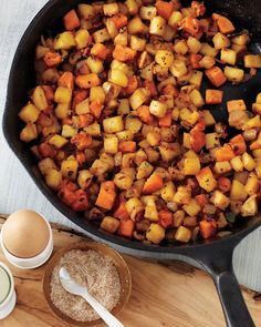 Apple-and-Root-Vegetable Hash - Martha Stewart Recipes:  I had this when I went to my adopted family's house for Thanksgiving and thought it was delicious.  It calls for celery root which is a bizarre looking veg but very mild and tasty.