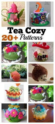 20 Handmade Tea Cozy with Patterns Tea Cosy Knitting Pattern, Tea Cosy Pattern, Free Knitting, Knitting Patterns, Crochet Kitchen, Crochet Home, Crochet Geek, Form Crochet, Knitted Tea Cosies