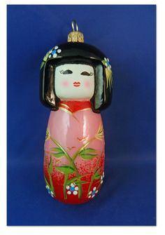 Japanese Kokeshi doll girl Travel blown glass Poland Christmas Ornament 011134