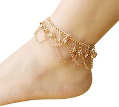 Jewelry & Watches Rational Gold Color Double Chain Adjustable Evil Eye Beads Ankle Bracelet