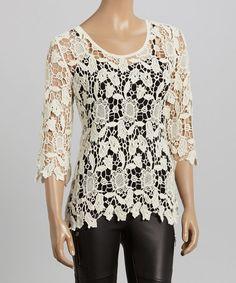 Loving this Ivory Crochet Three-Quarter Sleeve Top on #zulily! #zulilyfinds