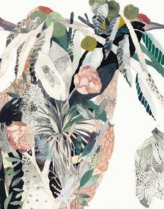 Cranes Garden - Archival Print Home of Dodo Art Inspo, Painting Inspiration, Painting & Drawing, Watercolor Paintings, Guache, Art Et Illustration, Motif Floral, Art Design, Botanical Art