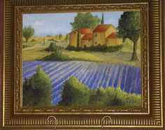 Original Canvas Art; Fields of Lavender in Tuscany; Decorative Painting by Jeanine