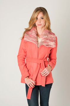 Coral wool jacket, knitted collar, uruguayan wool coat , fitted style by Texturable on Etsy, $255.00