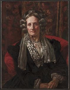 """""""Mrs. George Waugh"""" by William Holman Hunt (1868) at the Cleveland Museum of Art, Cleveland - From the curators' comments: """"The sitter, born Mary Walker (1805-1886), was the artist's mother-in-law. The portrait was made shortly after the death of Hunt's wife, Fanny. In August of 1866 Hunt and his pregnant wife embarked for the Near East. Their son was born in Florence, but Fanny became ill and died. Mrs. Waugh blamed Hunt for the death of her daughter."""""""