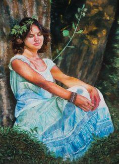 Rêverie - Jeune femme - pastel sec 50x70cm - Peinture,  50x70 cm ©2017 par David Cadran - #pastel #portraitpastel #pastels #pastelportrait #pastelart #pasteldrawing