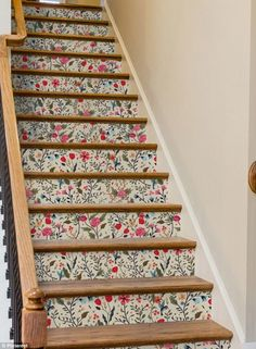 For basement stairs 8 Unexpected Ways To Use Removable Wallpaper - Murals Wallpaper Rose Gold Marble Wallpaper, Wallpaper Stairs, Wallpaper Murals, Adhesive Wallpaper, Staircase Makeover, Staircase Ideas, Staircase Design, Modern Staircase, Stair Decor