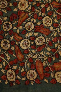Floral erstwhile elegance of Hand Painted Kalamkari fabrics in rawsilk and cotton - for Kurtas & Blouses