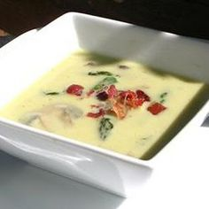 The savory flavors of mushrooms and bacon make this cream of asparagus soup a warm starter course for a meal. Creamed Asparagus, Asparagus And Mushrooms, Spinach Soup, Asparagus Recipe, Creamed Mushrooms, Stuffed Mushrooms, Best Cream Of Asparagus Soup Recipe, Homemade Sauerkraut, Mushroom Soup Recipes