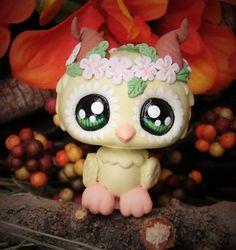 Littlest pet shop Owl Fairy Forest spirit ooak custom figure LPS flower crown #Hasbro